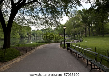 Central Park - New York City sidewalk near the lake