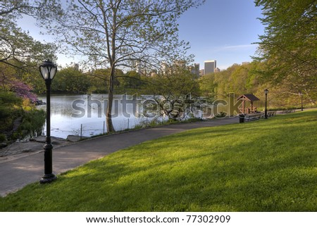 Central Park, New York City spring by the lake in the early morning