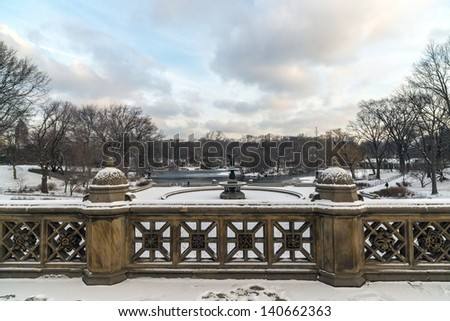 Central Park, New York City Terrace bridge looking at Bethesda terrace