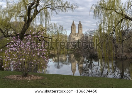 Central Park, New York City view accross lake in spring