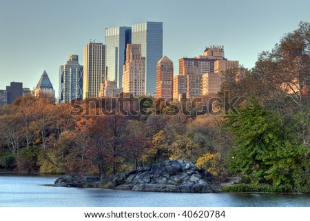 Central Park - New York City view of apartments in upper West Side
