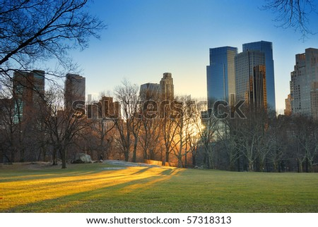 Central Park, New York City, with skyscrapers,snow and sunset