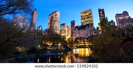 Central Park panorama and Manhattan skyline at dusk, New York City