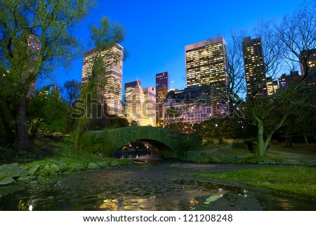 Central Park with Manhattan skyline at dusk, New York City