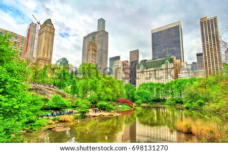Central Park with the Pond and Manhattan Skyline - New York City, United States #698131270