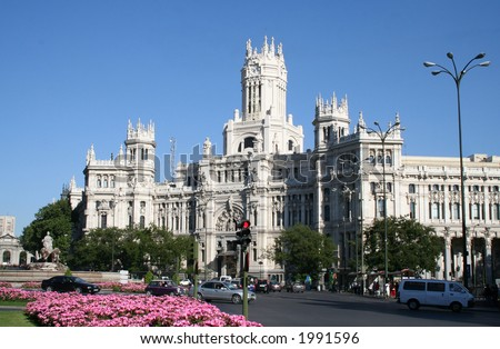 Central Post Office (build in 1904) in Madrid, Spain.