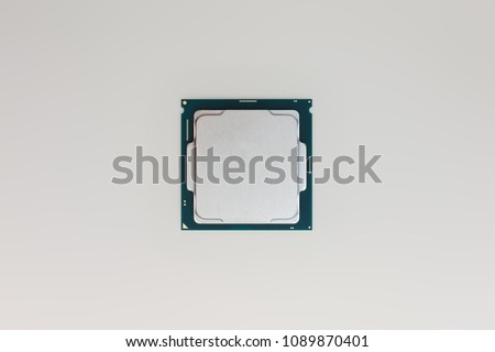 Central processing unit (CPU) x64 hexa-core processor with hyper-threading, isolated on white background with clipping path
