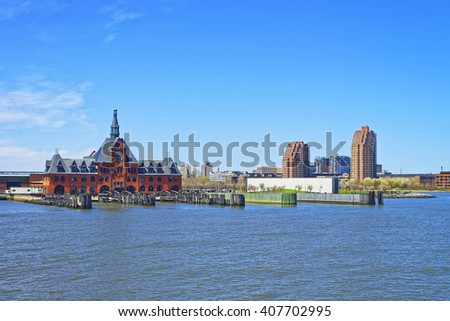 Central Railroad of New Jersey Terminal, USA. Hudson Waterfront. Hudson River. Ferry slips serving boats.