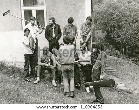 """Central Slovakia, CZECHOSLOVAKIA, CIRCA 1970 - students, amateur when performing """"live images"""" in nature - circa 1970"""