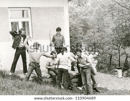 "Central Slovakia, CZECHOSLOVAKIA, CIRCA 1970 - students, amateur when performing ""live images"" in nature - circa 1970"