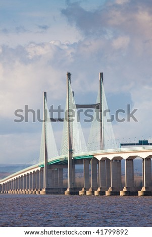 Central span of the new Severn Bridge carrying the M4 motorway connection to Wales