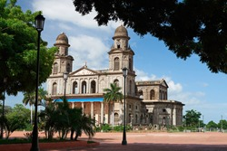 Central square in Managua on sunny day light. Travel destination in Nicaragua