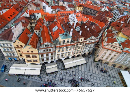 Central square in Prague. View from tower.