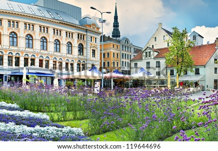 Central square in the old city of Riga -capital of Latvia. In 2014, Riga is the European capital of culture