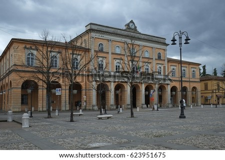 Central square of Santarcangelo di Romagna decorated with plastic products after Christmas and New Year 2014 celebration #623951675