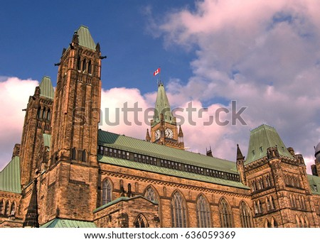 Centre Block of Canadian Parliament in Ottawa, Canada, May 18, 2008