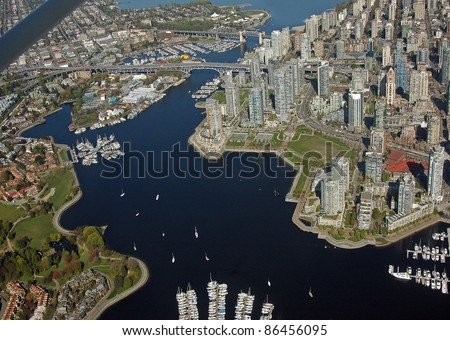 Centre of Vancouver with False Creek and Granville Island