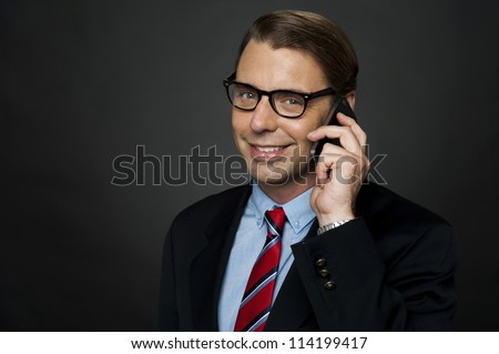CEO communicating with his business clients over a phone call
