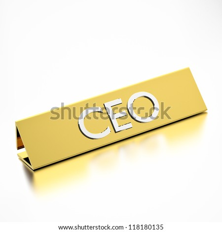 CEO job title on nameplate, for career professions. 3d render.