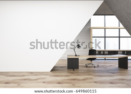 CEO office interior with a black wooden table, a chair, a panoramic window and a white triangular decoration element. 3d rendering, mock up