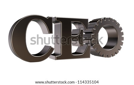 ceo tag with gear wheel on white background - 3d illustration