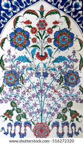 Stock Photo Ceramic blue tiles, Ceramics decor flower tiles texture background