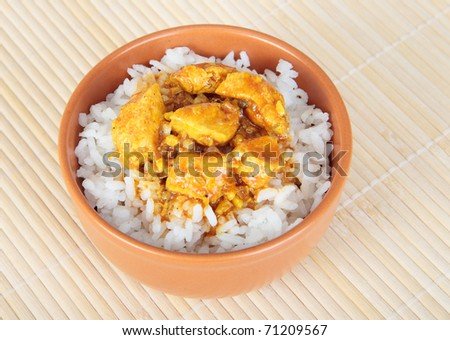 Ceramic bowl with rice and chicken in curry