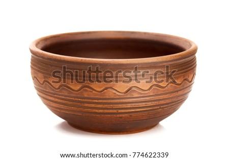 Ceramic bowls on white background decorative handmade Stock photo ©
