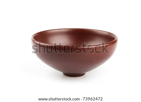 ceramic brown dishware isolated on white background