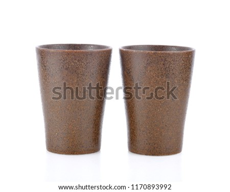 ceramic clay cup isolated on white background