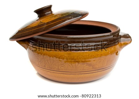 Ceramic clay pot for cooking isolated on white background