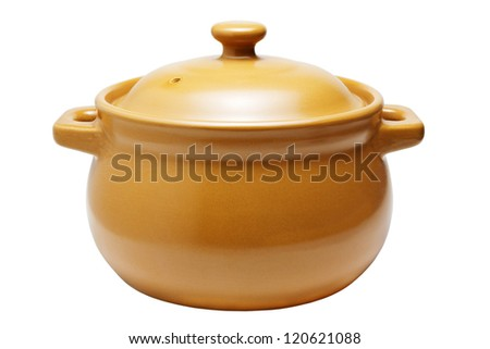 Ceramic cooking pot isolated on white background