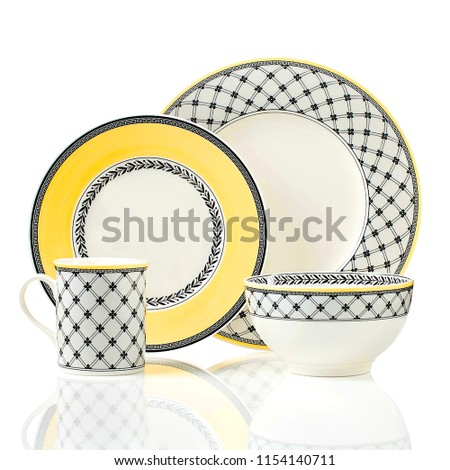 Ceramic cookware set, dinner set, dishware set on white background