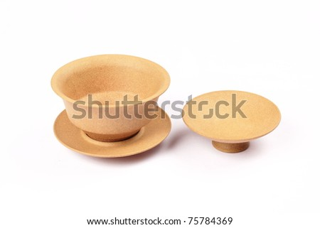 Ceramic cup has been isolated from the standard design in white