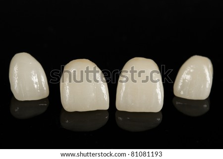 ceramic dental crowns, metal free / front view