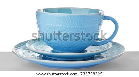 Ceramic dishware on white background #733758325