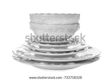 Ceramic dishware on white background #733758328