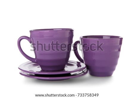 Ceramic dishware on white background #733758349