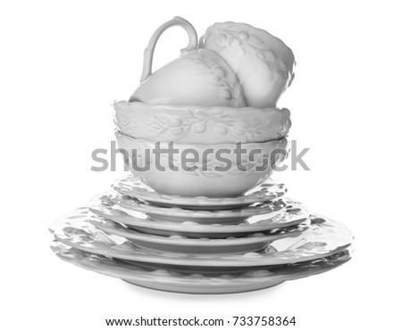 Ceramic dishware on white background #733758364