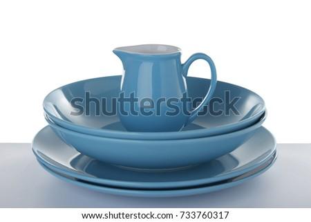 Ceramic dishware on white background #733760317