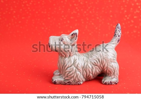 Ceramic dog souvenir on old paper,2018 is year of the dog