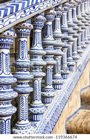 Ceramic fence in Plaza de Espana in Seville, Spain.