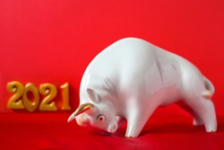 Ceramic figurine of white bull on red background next to the golden numbers 2021. Bull symbol of the year 2021