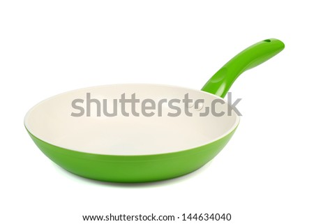 Ceramic Frying Pan. Isolated with clipping path.