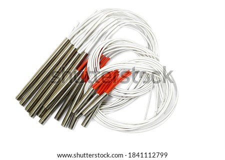 Photo of  Ceramic heater explosion from stream boiler in the garment factory Thailand.Bomb heater, Cable break isolated on white background.