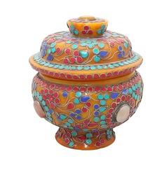 Ceramic items souvenir Vintage made of ivory, inlaid with precious stones , white background
