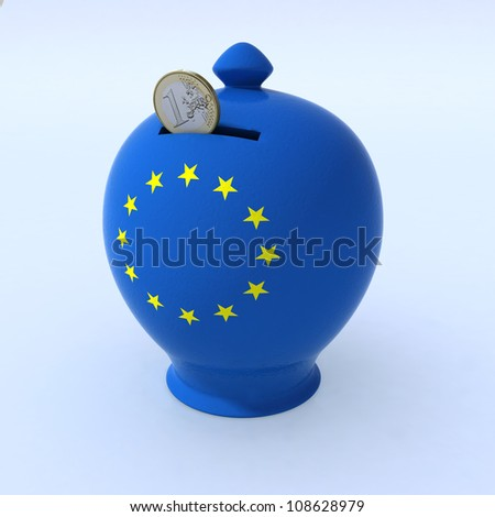 ceramic money box with European flag and one euro coin that is coming into him