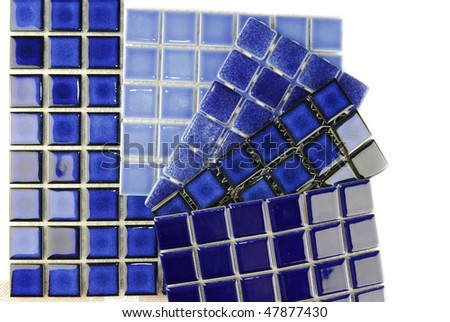 ceramic mosaic tiles in various blue color choice