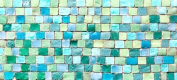 Ceramic mosaic tiles texture or background. Colorful blue and green pastel mosaic wall.