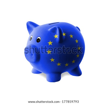 Ceramic piggy bank with painting of flag, European Union